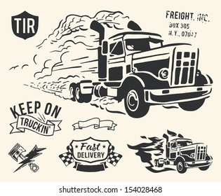 Vintage truck delivery theme on off white background.