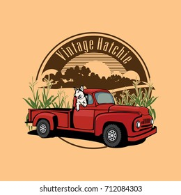 vintage truck farmer  and dog in the corns field illustration
