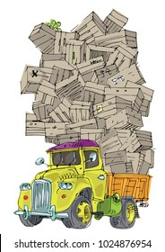 A vintage truck overloaded  with huge pile of fruit boxes. Cartoon. Caricature.