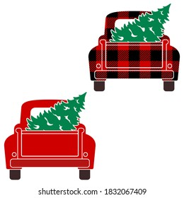 Vintage Truck Tailgate with Christmas Tree Vector Illustrations on White