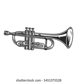 Vintage trumpet concept in monochrome style isolated vector illustration