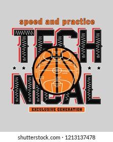 Vintage t-shirt graphic design, grange print stamp, basketball typography emblem, creative sports logo, Vector