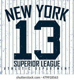 Vintage t-shirt graphic design,  grange print stamp, New York athletic typography emblem, Vector