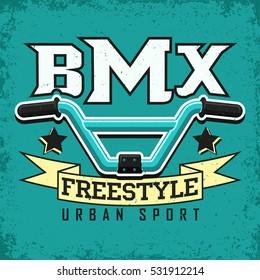 Vintage t-shirt graphic design,  grange print stamp, creative bmx freestyler typography emblem, sports logo, Vector