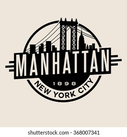 vintage t-shirt sticker emblem design. Manhattan New York City and Manhattan Bridge and  skyline