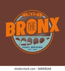 vintage t-shirt sticker emblem design. The Bronx New York City lettering with historic High Bridge