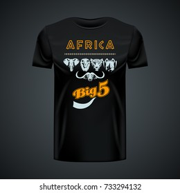 Vintage t-shirt with stylish African big five in center. Editable layout