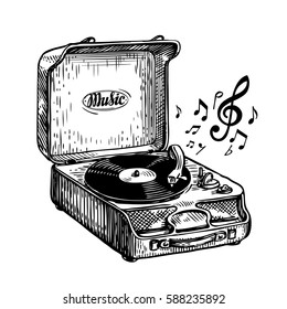 Vintage turntable. Record player vinyl record. Music, song symbol. Hand-drawn sketch vector illustration