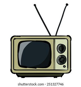The vintage TV. A children's sketch of the square TV. Color image.