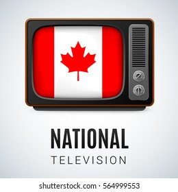 Vintage TV and Flag of Canada as Symbol National Television. Button with Canadian flag