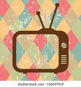 vintage tv icon on retro background