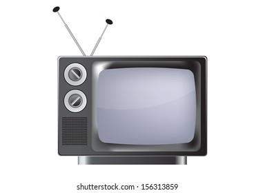 vintage TV. Illustration on white background
