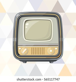 Vintage TV on abstract geometric background with triangles (modern polygon texture).