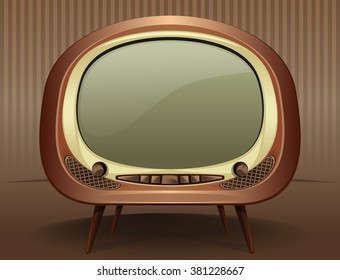 Vintage TV. Vintage television in the style of the 50s - 60s. Old TV. Vector Retro TV on a vintage background.