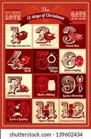 vintage twelve days of christmas calendar template vector/illustration advent calendar