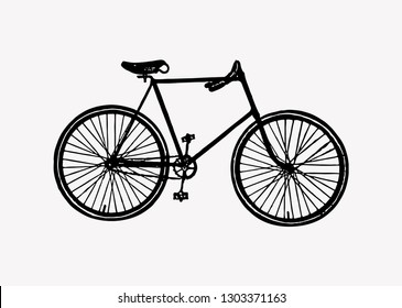 Vintage two wheel bicycle engraving vector