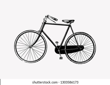 Vintage two wheel bicycle engraving illustration