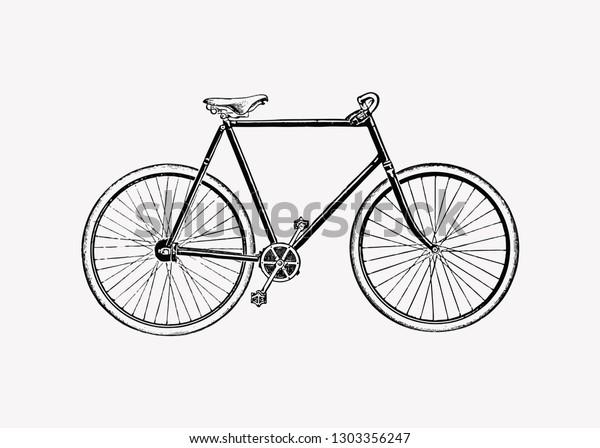 Vintage two wheel bicycle engraving vector