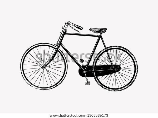 Vintage two wheel bicycle engraving illustration