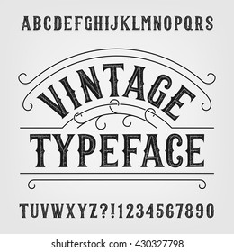 Vintage typeface. Retro distressed alphabet vector font. Hand drawn letters and numbers. Typeset for labels, headlines, posters etc.