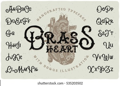 Vintage typeface with rough textured effect. Handcrafted font with drawn illustration of a mechanic steam punk heart.