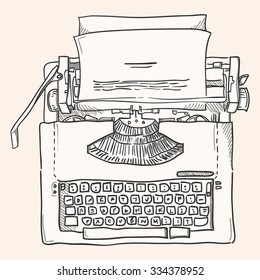 Vintage Typewriter - Antique illustration of typewriter in french graphic style