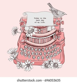 Vintage Typewriter with a Chamomile flowers and bird on a light pink background. Vector illustration.