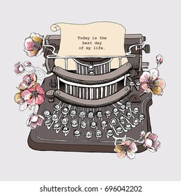 Vintage Typewriter with a cherry flowers. Vector illustration.