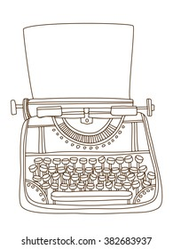 Vintage typewriter. Hand drawn vector illustration. Cartoon and doodles style.