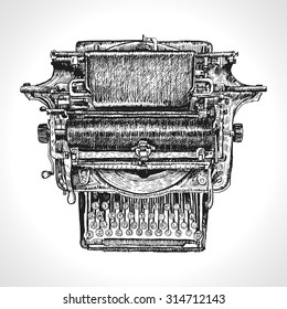 Vintage typewriter isolated on white background. Traditional Style Inked Hand Drawing Engraving Style