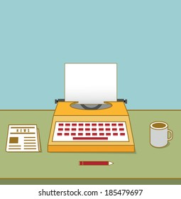 Vintage typewriter on the table with copyspace for text. Equipment for blog - vector illustration