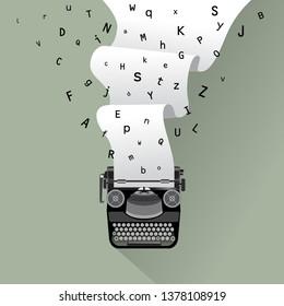 Vintage typewriter and paper illustration, for print, cover, banner etc.