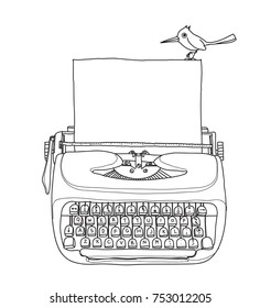 vintage  typewriter portable retro with paper and bird  hand drawn vector line art illustration