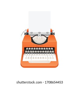 Vintage typewriter vector illustration isolated on white background