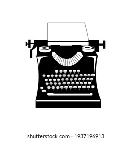 Vintage typing machine silhouette. Isolated on white.