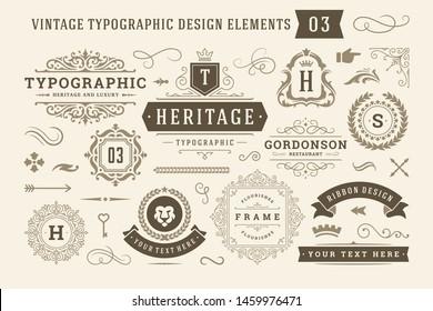 Vintage typographic design elements set vector illustration. Labels and badges, retro ribbons, luxury ornate logo symbols, calligraphic swirls, flourishes ornament vignettes and other.