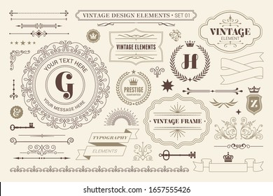 Vintage typographic design elements set vector illustration. Labels and badges, retro ribbons, luxury ornate logo symbols, calligraphic swirls, flourishes ornament vignettes and other