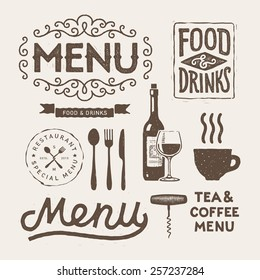 Vintage typographical elements and icons for menu