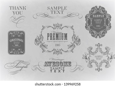 Vintage typography, calligraphic design elements, page decoration set