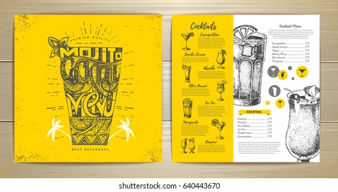 Vintage typography cocktail menu design