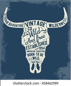 Vintage typography with cow skull illustration. . For apparel t shirt fashion design and or other uses.