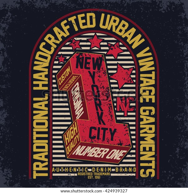 Vintage Typography Emblem Grunge Tshirt Graphics Stock