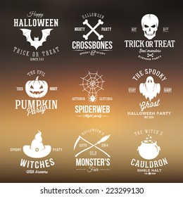 Vintage Typography Halloween Vector Badges or Logos Pumpkin Ghost Scull Bones Bat Spider Web and Witch Hat With Abstract Blurred Background