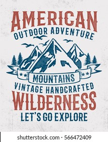 Vintage typography with mountain illustration, Outdoor adventure .