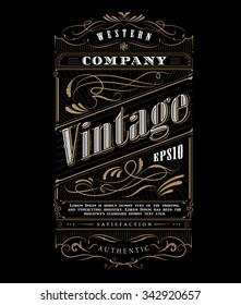 Vintage typography western frame label border vector illustration