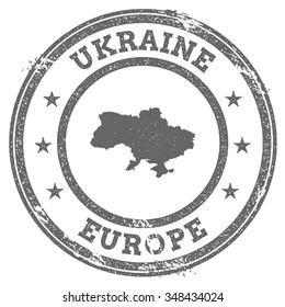 Vintage Ukraine stamp with continent name. Grunge rubber stamp map with Europe and Ukraine text, vector illustration
