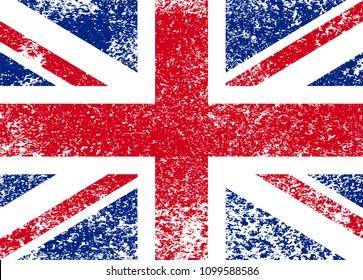 Vintage Union Jack, Great Britain grunge flag, vector illustration.