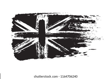 Vintage Union Jack, Great Britain grunge flag, brush strokes painted flag, black isolated on white background, vector illustration.