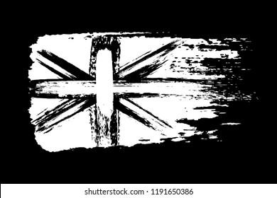 Vintage Union Jack, Great Britain grunge flag, brush strokes painted flag, white isolated on black background, vector illustration.