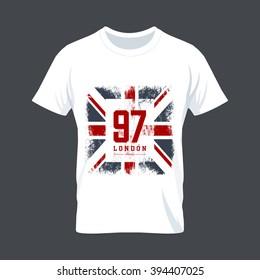 Vintage United Kingdom flag tee print vector design. Premium quality Great Britain superior number logo concept. London t-shirt wear mock up.